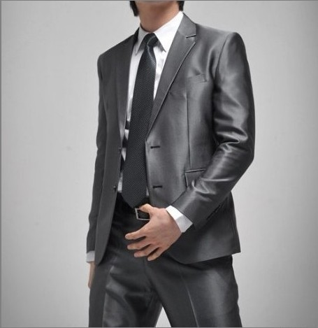 2020 Mens Autumn Silver Gray Slim-Fit Suit Youth Business Suit Bridegroom Wedding Suit Two Pieces