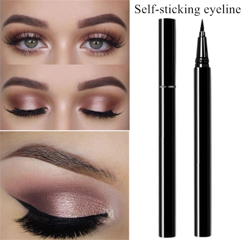 1Pc New Self Adhesive Long Lasting No Glue Non Blooming Quick Drying Eyelashes Sticking Eye Cosmetics Super Slim Liquid Eyeliner