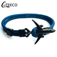 CUTEECO Fashion 15 Colors Plane Head Anchor Bracelets Men Charm Chain Rope Bracelet Jewelry Male Wrap Metal Sport Hooks