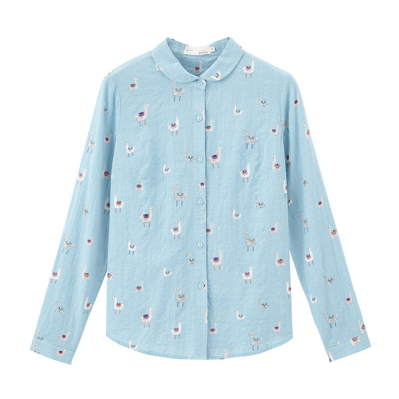 Image 5 - INMAN 2020 Spring New Arrival Literary Pure and Fresh Lapel Single Breasted Animals Printed Loose Long Sleeve BlouseBlouses & Shirts   -