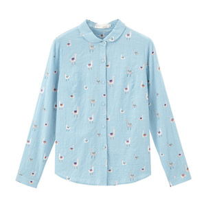 Image 5 - INMAN 2020 Spring New Arrival Literary Pure and Fresh Lapel Single Breasted Animals Printed Loose Long Sleeve Blouse