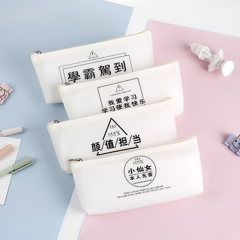 Golden Bean Simple Fairy Transparent Silica Gel Pen Bag Student Supplies Creativity Trend Character Jelly Triangle Stationerybox