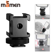 Aluminum alloy Three Heads Cold Shoe Mount Adapter with 1/4 inch thread base component  For Microphone/Phone bracket/Fill light