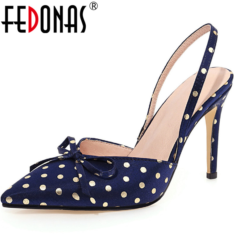 FEDONAS 2020 Wave Point Women Sandals Butterfly Knot High Heels Pumps Woman Concise Pointed Toe Newesst Party Prom Shoes Woman