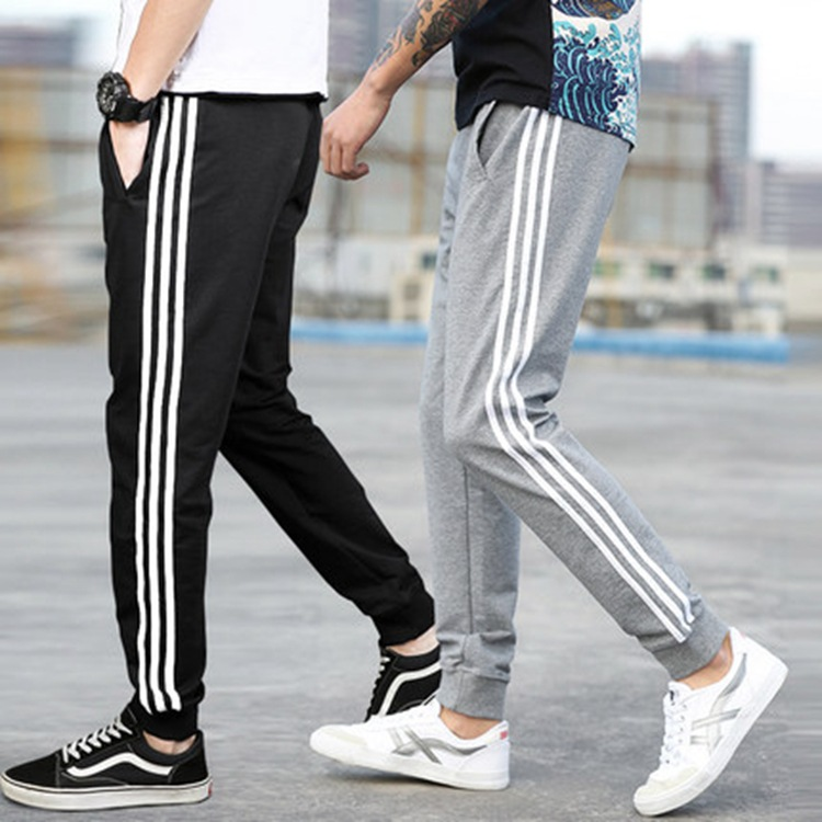 Summer Thin Section Pure Cotton Three Bars Athletic Pants Students Casual Sports Pants MEN'S Trousers Sweatpants Beam Leg Skinny
