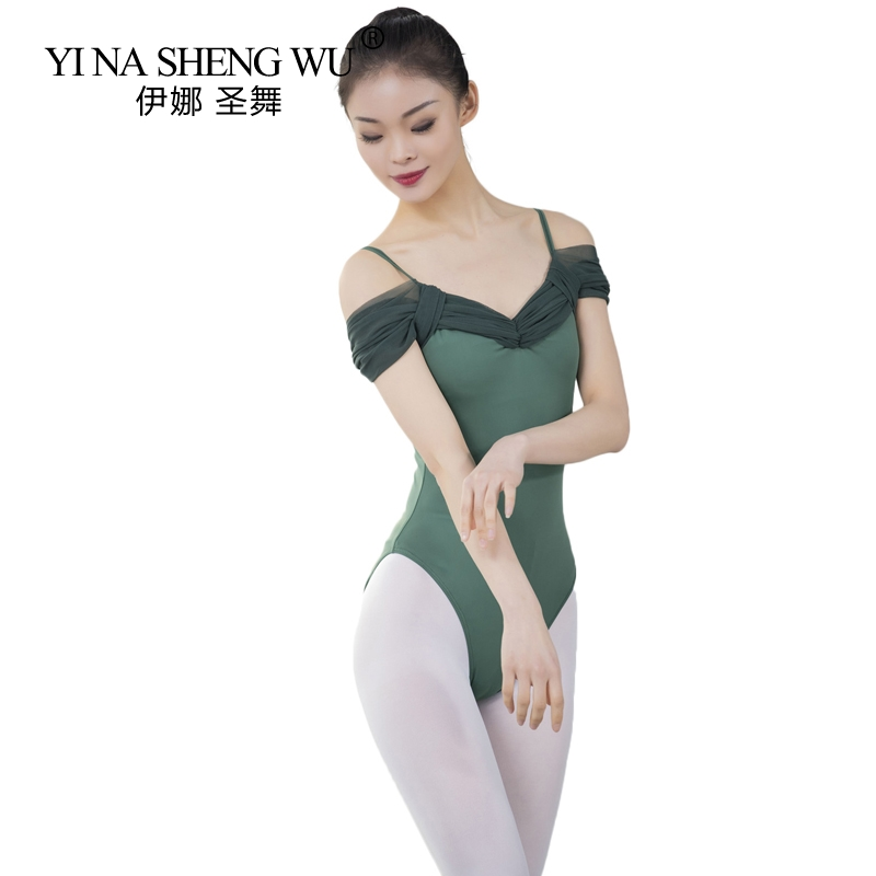 Women Ballet Leotard Dance Wear Adult Short Sleeve Stretch Camisole Gymnastics Leotard Bodysuit Ballet Dress Dancewear 6 Colors