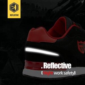 Image 4 - LARNMERN גברים של פלדת הבוהן עבודה נעלי בטיחות לנשימה קל משקל נגד לנפץ רעיוני בניית מגן הנעלה