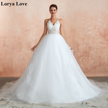 Ball Gown Wedding Dresses 2020 Lace Appliques Tiered Tulle Court Train Sleeveless Bride Robe De Mariage Femme