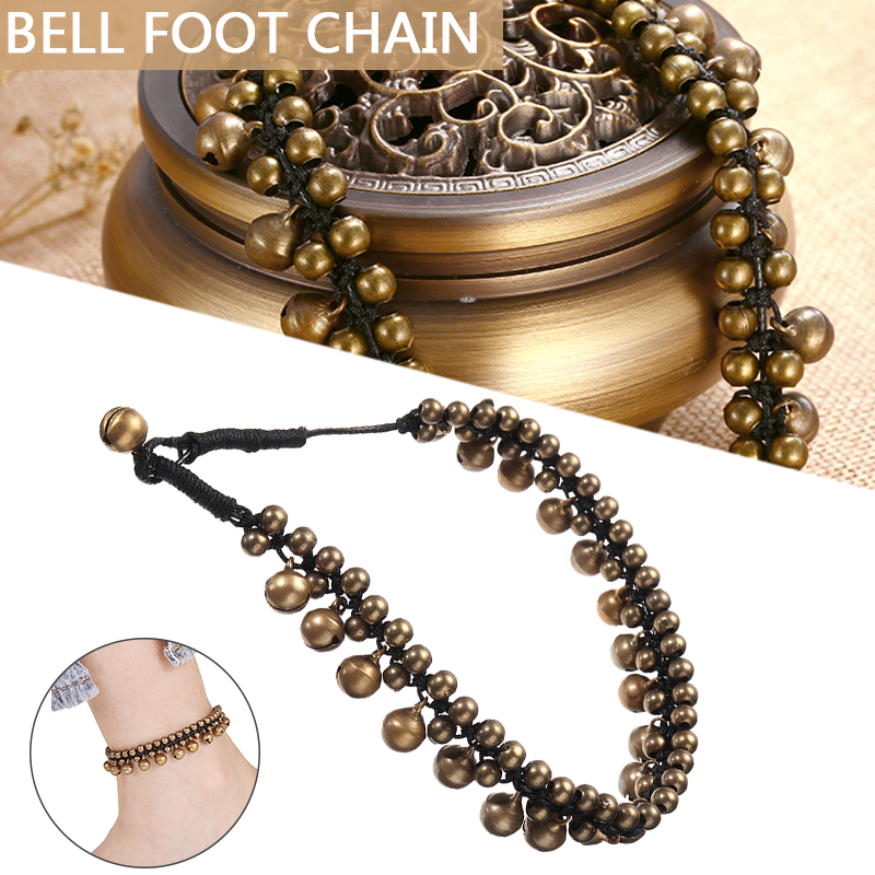Vintage Women Men Brass Bracelet Anklet Jewelry Pulseras Antique Gold Jingle Bell Tassel Foot Chain Anklet Ocean Beach Jewelry