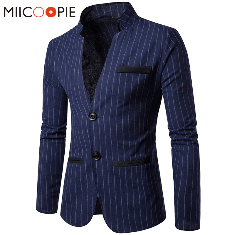 Mandarin Collar Men Suit Jacket Casual Business Single Breasted Slim Blaser Masculino Autumn Vertical Stripes Blazers Men Suits