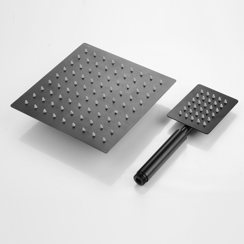 BAKALA Schwarz Edelstahl Quadrat Schwarz Dusche Set Bad Regen Dusche Kopf Wasserhahn Dusche Mixer Handheld Dusche Spray Set