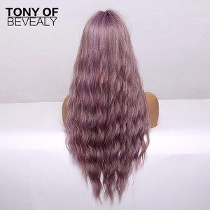 Image 5 - 合成かつらロング波状ライトブラウン自然な髪のかつら女性のための前髪アフリカ系アメリカふわふわ毛の耐熱性繊維