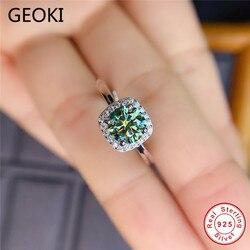 Geoki 925 bague Moissanite vert coupe parfaite en argent Sterling passé diamant Test 1 Ct carré émeraude anneaux femmes bijoux de luxe