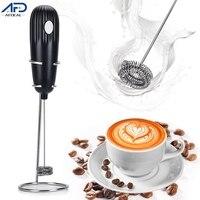 Espumador de leche eléctrico negro, máquina de café de espuma de mano, batidor de cocina, mezclador para capuchino, café, huevo, batidor, herramienta de cocina