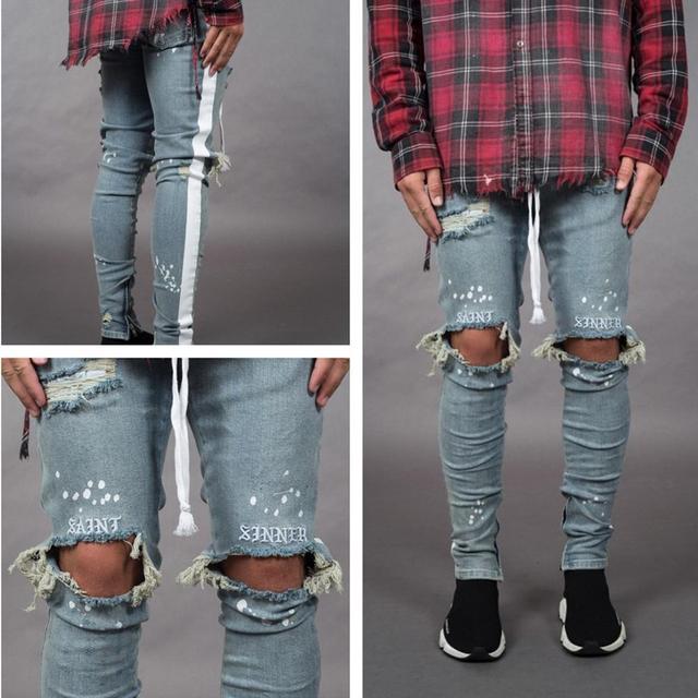 BDLJ 2019 Men Stylish Ripped Jeans Pants Biker Skinny Slim Straight Frayed Denim Trousers Fashion Skinny Jeans Men Clothes AB03 52