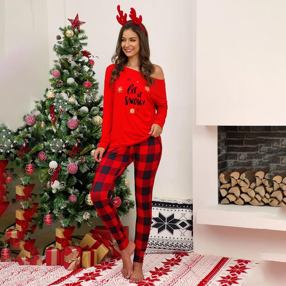 Women Ladies Christmas Plaid Letter Print Pajama Set Long Sleeve T-Shirt Top + Pants Pajamas Nightwear Sleepwear Black Red 2 Pcs
