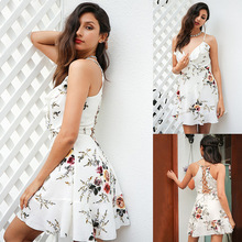 Fashion Womens Floral Dress White Simple Elegant Print Ruffled Sling Female Slim Waist Short Mini Vestidos