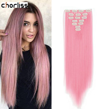 Chorliss 22inch Clip In Hair Extensions 16 Clips In Synthetic Heat Resistant Hairpieces 7pcs/Set Straight Hair For Women Blonde