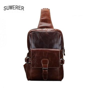 SUWERER New Genuine Leather Mens chest bag shoulder messenger mens retro leather casual real
