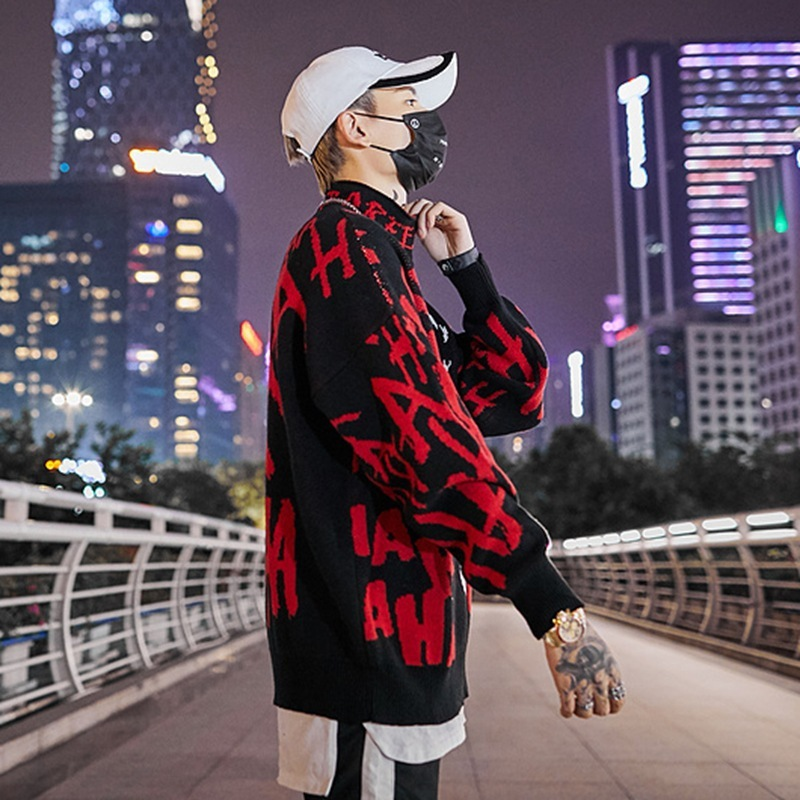 Image 4 - 2019 Mens Skull Sweater Streetwear Pullover Clown O neck Long  Sleeve Fashion Hip Hop Men Autumn Sweaters LoosePullovers   -