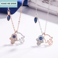 High Quality swa Hamsa Necklace Female Clavicle Chain Devil's Eye Hand Lucky Palm Crystal Pendant Women Female Gift