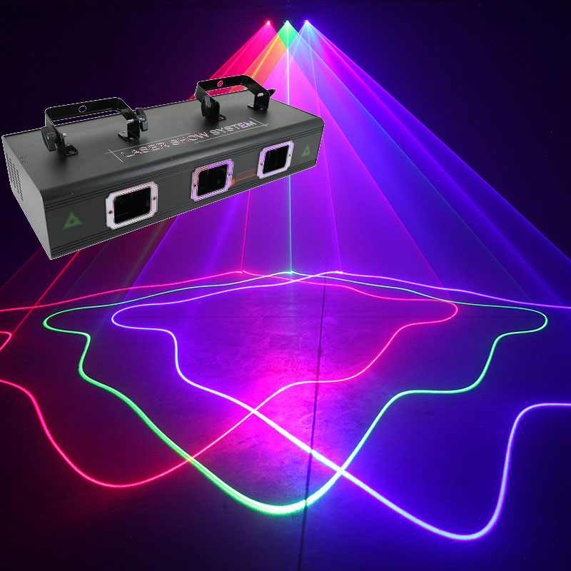 High quality voice activated laser light stage lighting laser lights three lens red blue green 3 colors bar laser Projector|Stage Lighting Effect| |  - title=