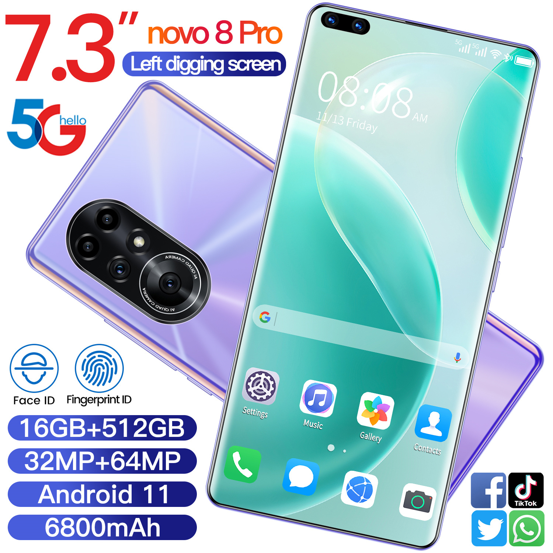 Смартфон Novo 8 Pro, 7,3 дюйма, 16 + 512 ГБ, Android 10,0, 32 + 64 мп, 6800 мАч