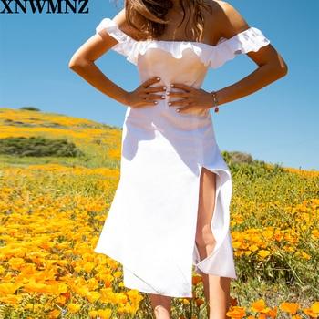 Vintage Split women dress Chiffon vestidos Holiday Stripe  Floral Print Ruffles Tank women midi Dress za plus floral print split hem dress