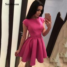 Сатиновые ярко розовые короткие платья smileven для встречи