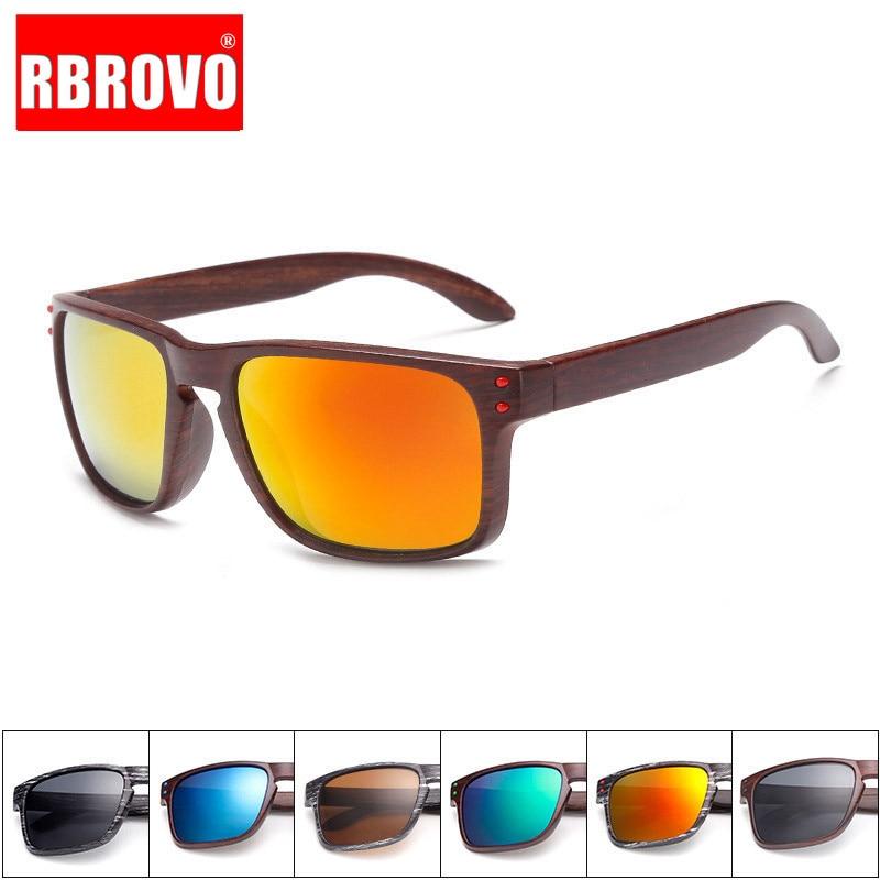 RBROVO Vintage Imitation Wood Grain Sunglasses Women Brand Designer Unique Wooden Legs Glasses Reflective Mirror Oculos De Sol