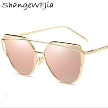 Hot Sale Mirror Flat Lens Women Cat Eye Sunglasses