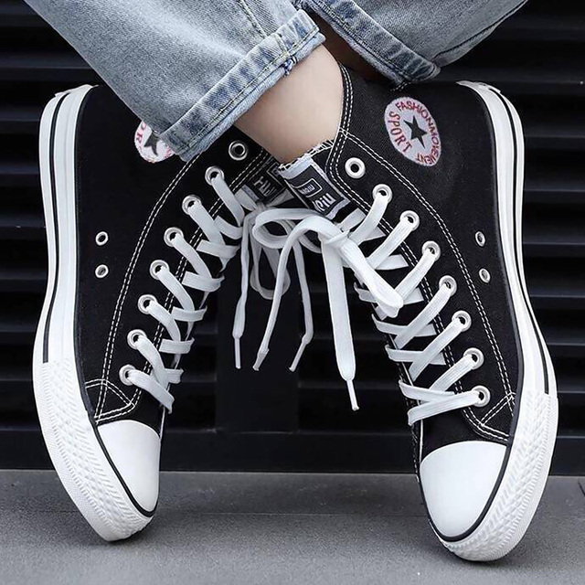 Canvas shoes men high top sneakers fashion white and black unsiex sneakers 2019 new classic style boys sport shoes 1
