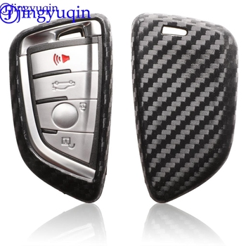 jingyuqin Carbon Silicone Car Remote Key Fob Shell Cover Case For BMW X1 X5 F15 X6 F16 1 2 5 7 Series 2016 2017 2018 Skin Holder image