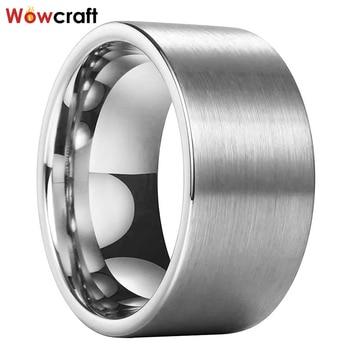 12mm Silver/ Black/ Rose Gold Tungsten Ring for Men Wedding Bands Brushed Finish Engagement Ring Big Width Comfort Fit