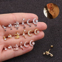 цена на 20G Ear Piercing Cz Moon and Star Cartilage Helix Tragus Conch Rook Stainless Steel Screw Back Stud Cartilage Earrings