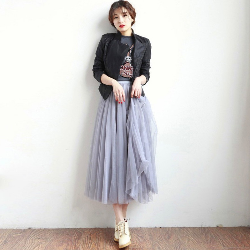 Women Long Skirt Ball Gown Tulle Layers Chiffon Skrits Soft Tulle Bridesmaid Tutu Skirt Ball Gown Mid-Calf Length Female