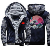 The Great Retro Wave Japan Anime Vaporwave Jackets Men Hoodies Sweatshirt 2019 Winter Thick Fleece Coats Camouflage Streetwear