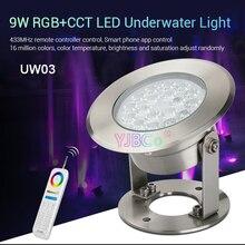 Miboxer 9 Вт RGB+ CCT светодиодный подводный светильник AC12V/DC12-24V с регулируемой яркостью умный IP68 подводный светильник FUT086 8-зоны РФ Пульт дистанционного управления