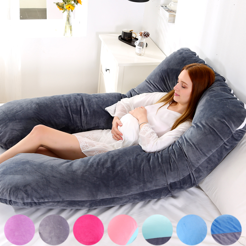 Soft Fleece Pregnant Pillow Case Gravida U Type Lumbar Pillowcase Multi Function Side Protect Cushion Cover For Pregnancy Women