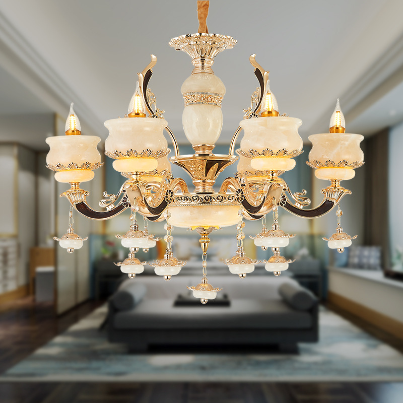 European Crystal Luxury Bedroom Living Room Chandelier Villa Candle Hotel Corridor Jade
