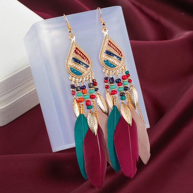 ZOSHI Bohemian Tassel Earrings for Women Dangle Long Earrings Feather Boho Drop Earrings Seed Beads Vintage Jewelry Brincos 1