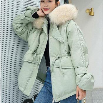 Nueva moda tendencia mujeres con capucha gorra cuello de pelo grande estudiante algodón acolchado Clothe 2019 Otoño Invierno mujer Delgado abajo abrigos de algodón