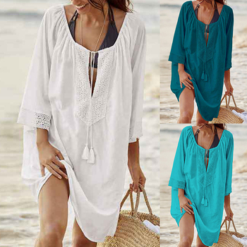 New Summer Women Cover Up Sexy Beach Dress Swimsuit Bikini Chiffon Short Bathing Suit tunic Swimwear