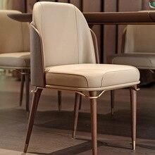 Dining-Chair Hotel Designer Metal Solid-Wood Restaurant Leisure Creative Luxury Home