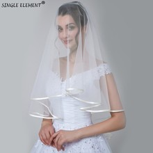 Wholesale 2 Layer Ribbon Edge Voile Mariage Comb White Ivory Wedding Short Veil Welon Bridal Accessories