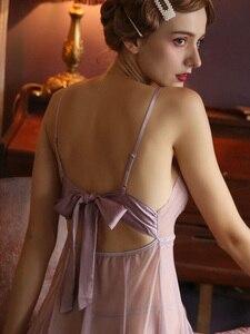 Image 4 - 귀여운 여성 잠옷 레이스 백 보우 슈퍼 섹시한 메쉬 원근법 Nightdress 유혹 중공 깊은 V 슬리핑 드레스