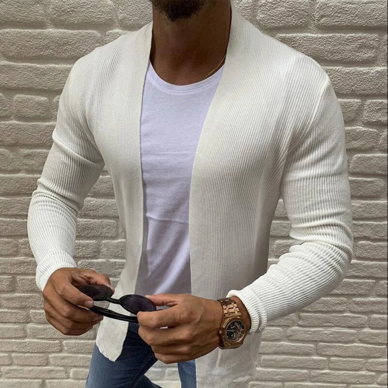 2020 Brand Summer Spring Korean Style Men Slim Fit Knitted Sweater Cardigan Male Long Sleeve Strip Blouse Sweater Plus Size