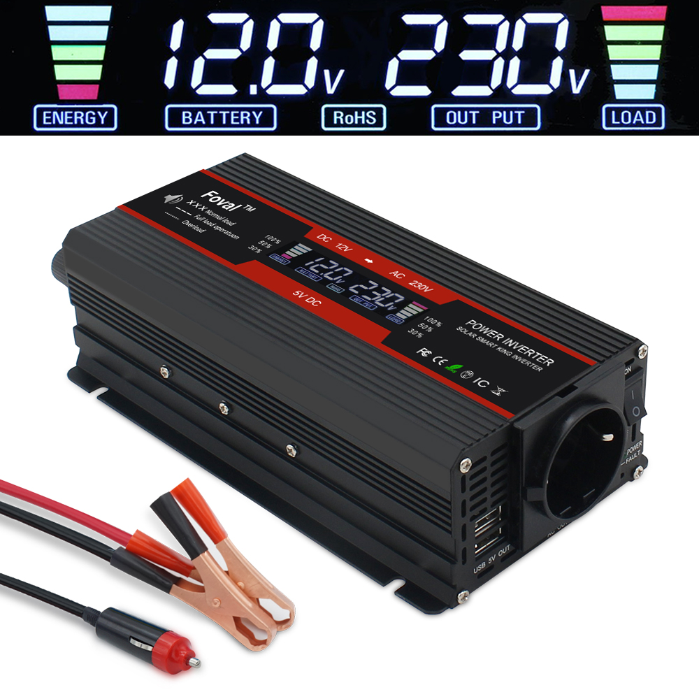 LCD Display 5000W Power Inverter DC 12V To AC 220V Modified Sine Wave Solar 2 USB Car Transformer Convert EU Socket Black