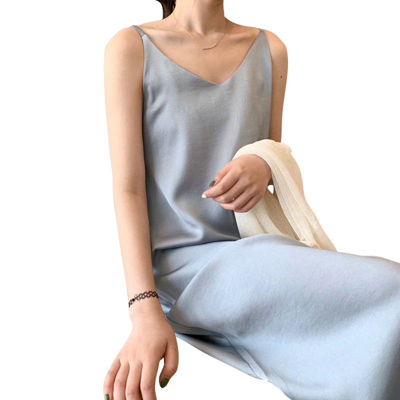 Tangada women solid color midi dress strap adjust sleeveless 2020 korean fashion lady elegant dresses vestido ASF03(China)