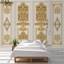 beibehang Custom photo wallpaper 3D Golden relief carved gypsum line wallpapers TV background wall paper home decoration mural